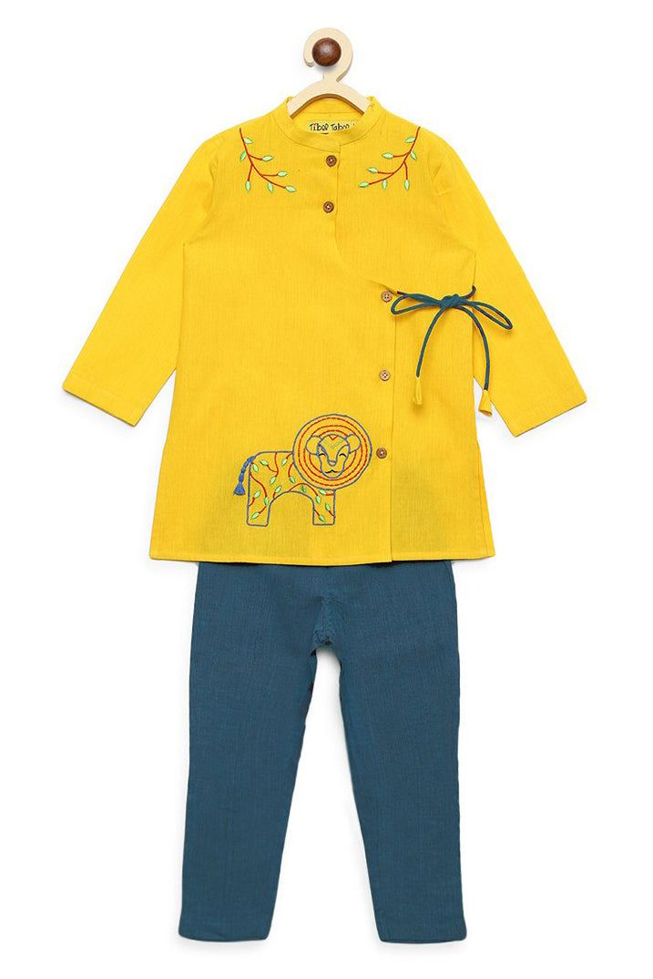 Boy Yellow Gond Lion Kurta Set