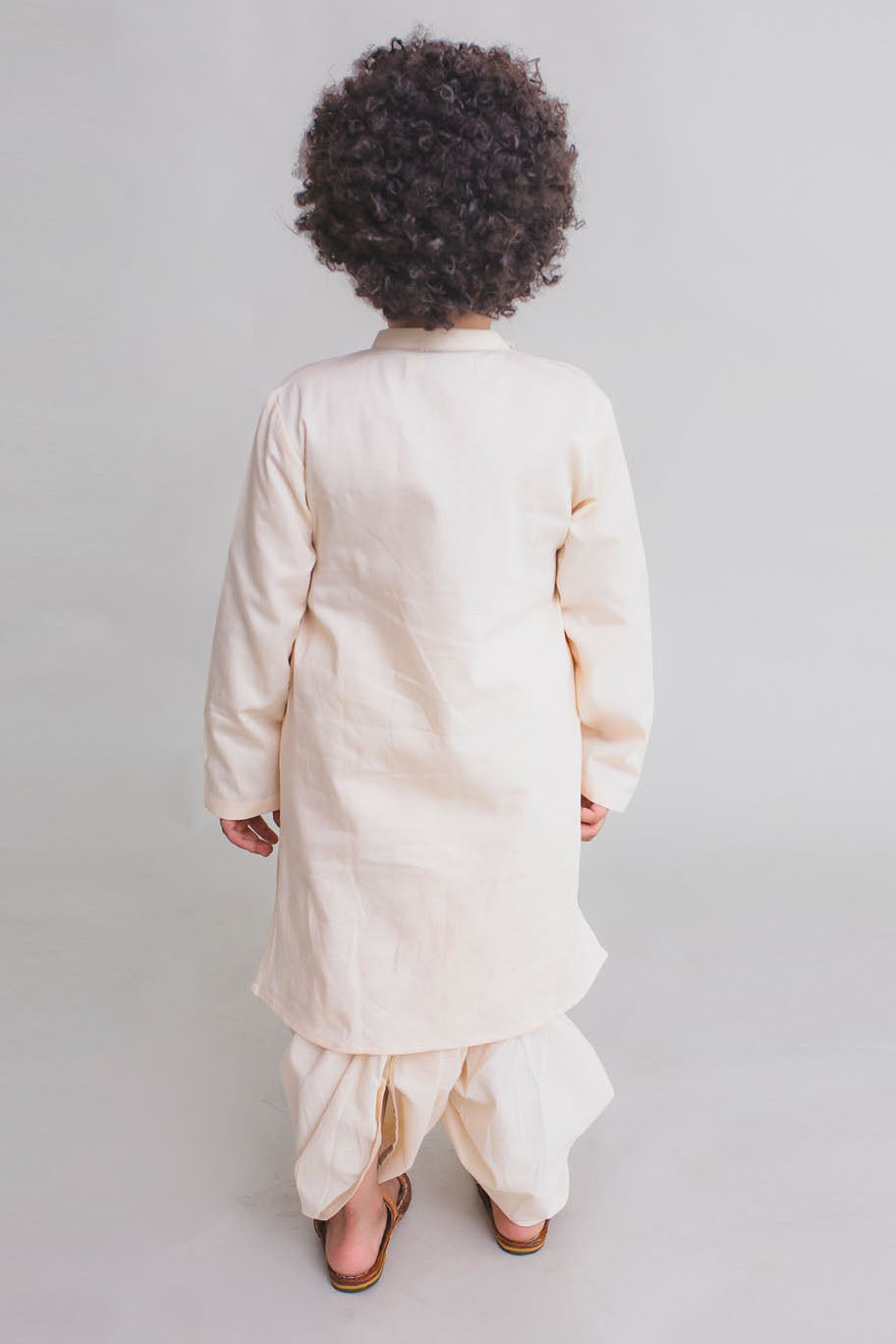 Boy Off-White Krishna Murli Kurta Dhoti Set