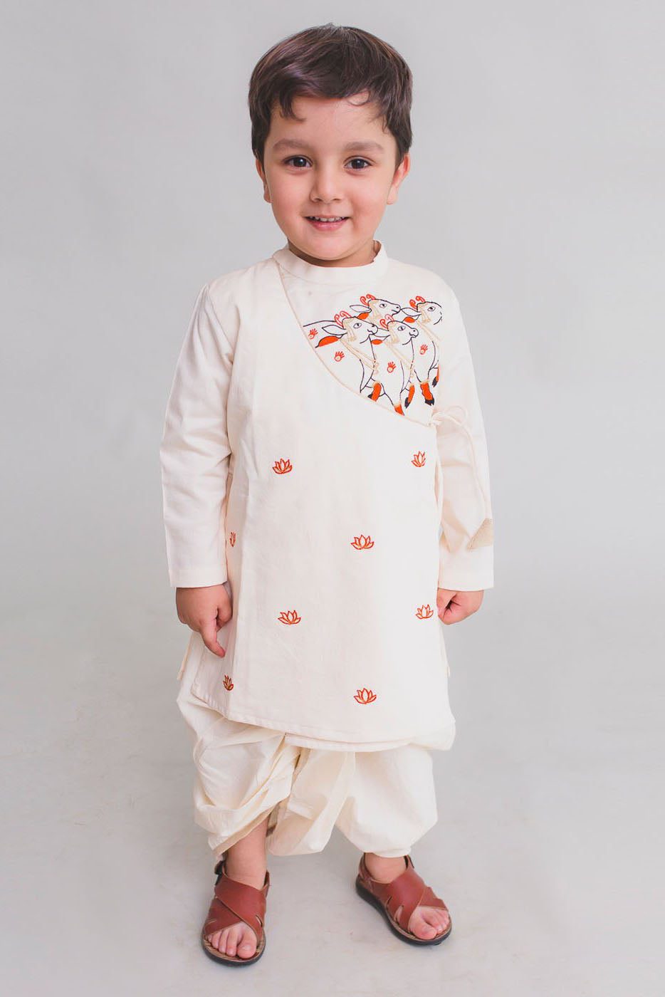 Boy Off white Krishna Cow Herd Kurta Dhoti Set