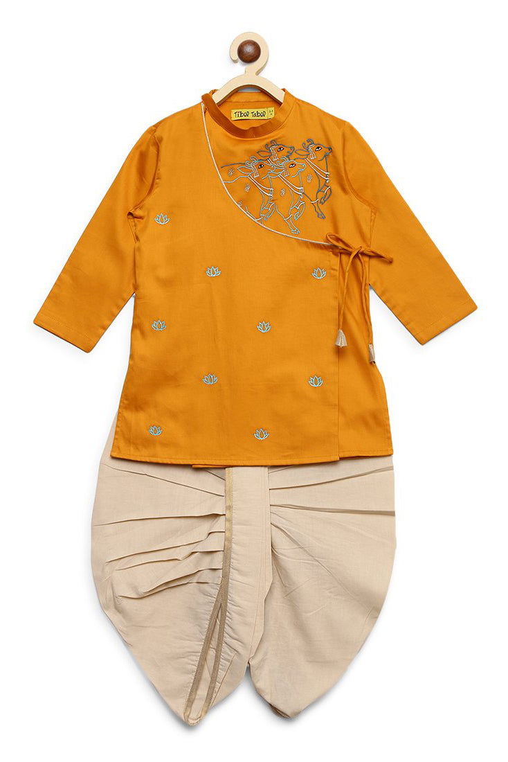 Boy Mustard Yellow Krishna Cow Herd Kurta Dhoti Set