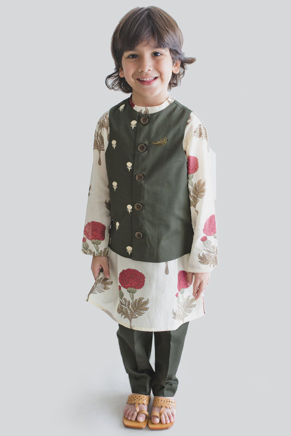 Boy Bundi Off-white Floral 3 Pc Kurta Set