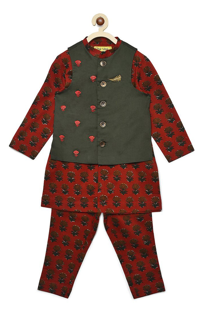Boy Bundi Maroon Floral 3 Pc Kurta Set