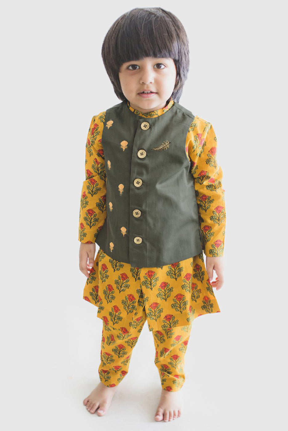Boy Bundi Mustard Floral 3 Pc Kurta Set