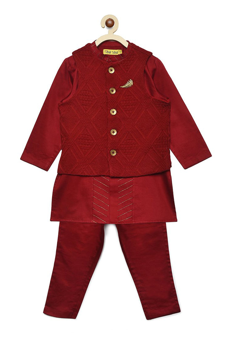 Boy Bundi Maroon Jacquard 3 Pc Kurta Set