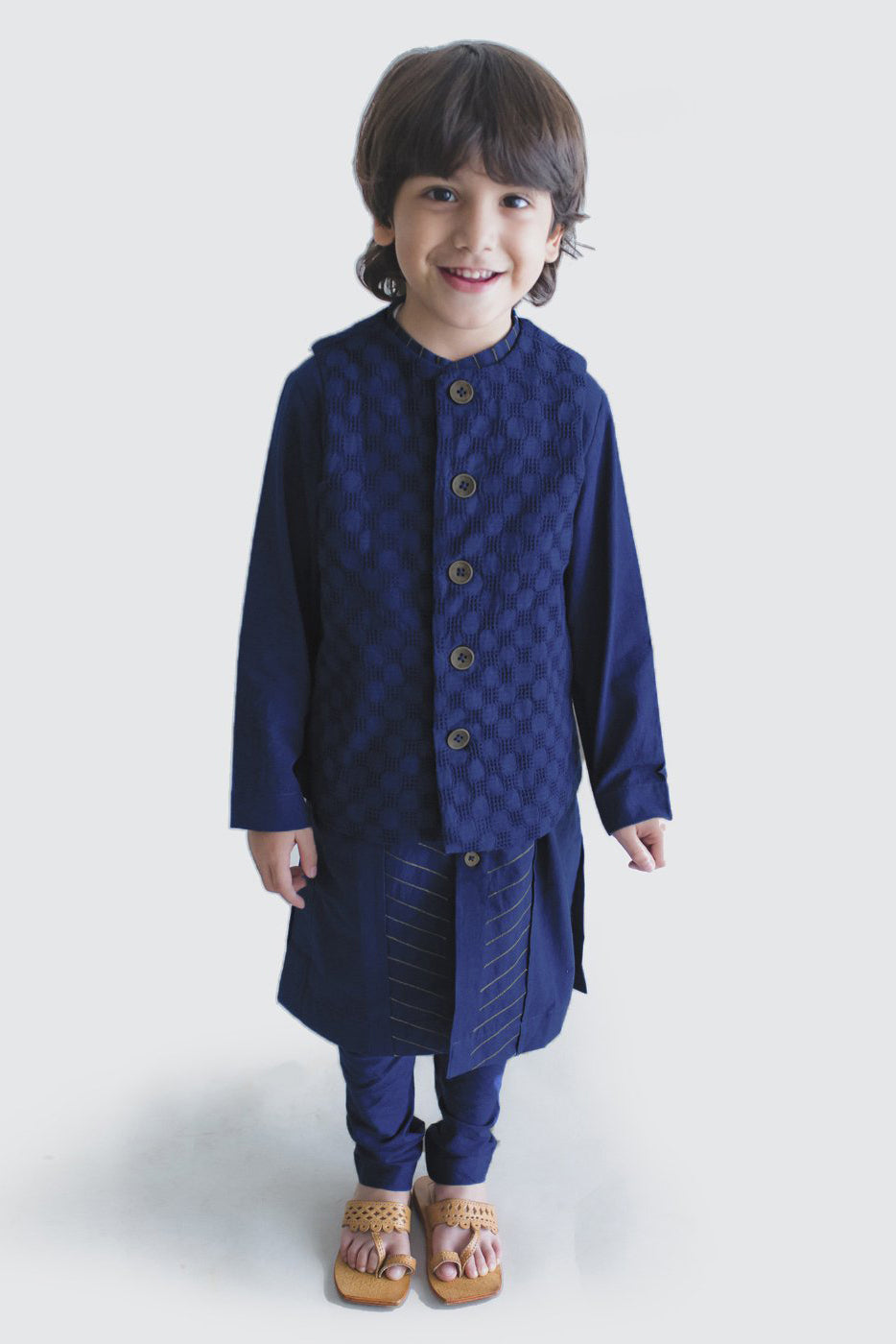 Boy Bundi Blue Jacquard 3 Pc Kurta Set
