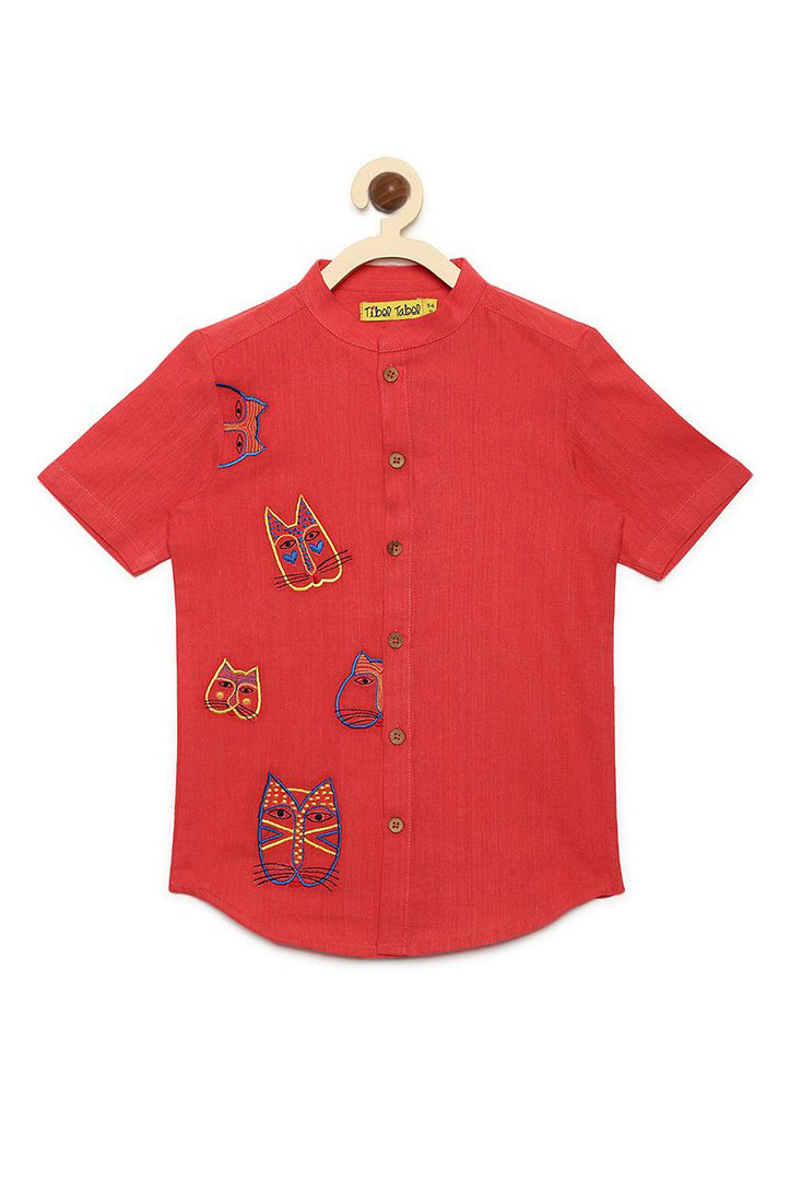 Boy Peach Cat Face Shirt