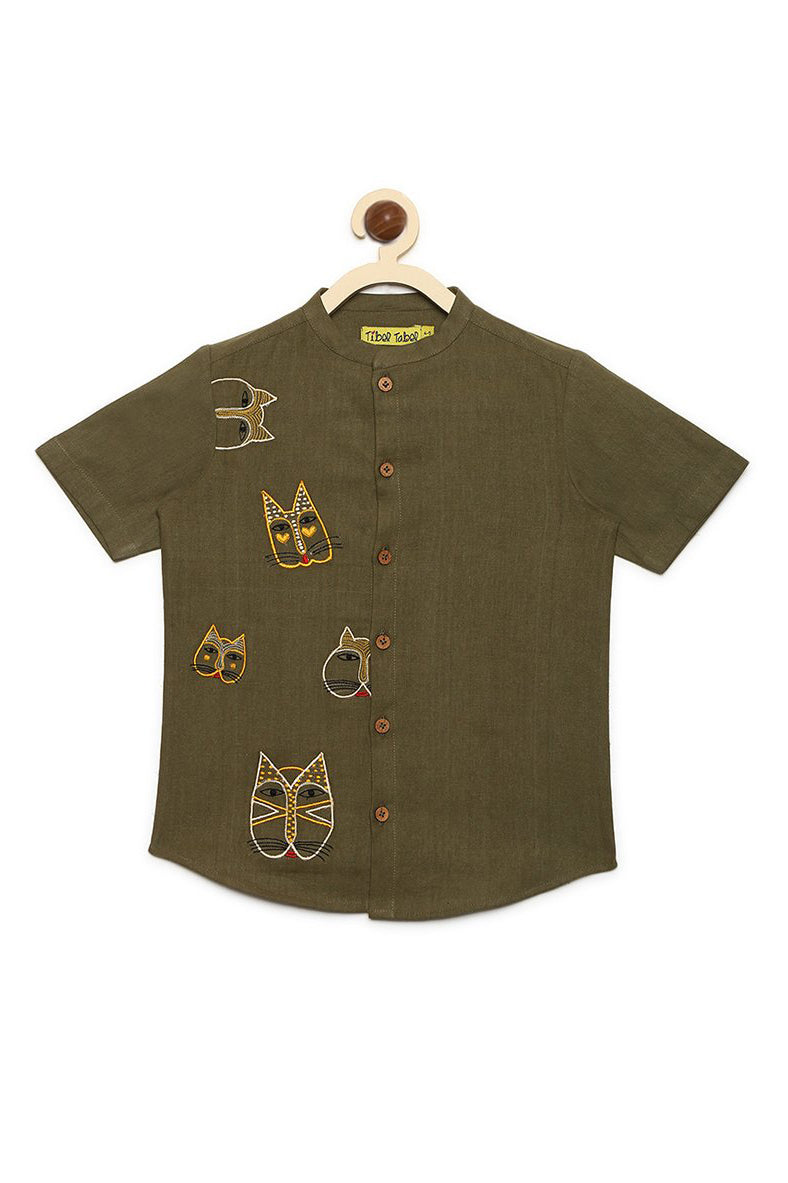Boy Olive Cat Face Shirt