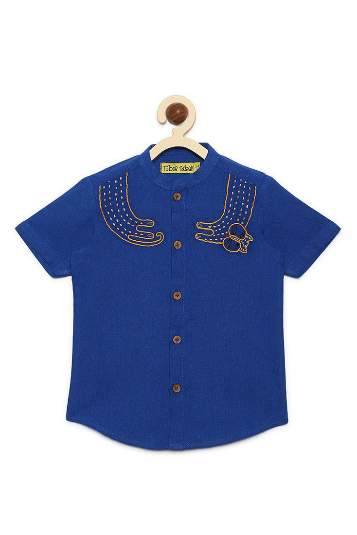 Boy Blue Collar Cat Shirt