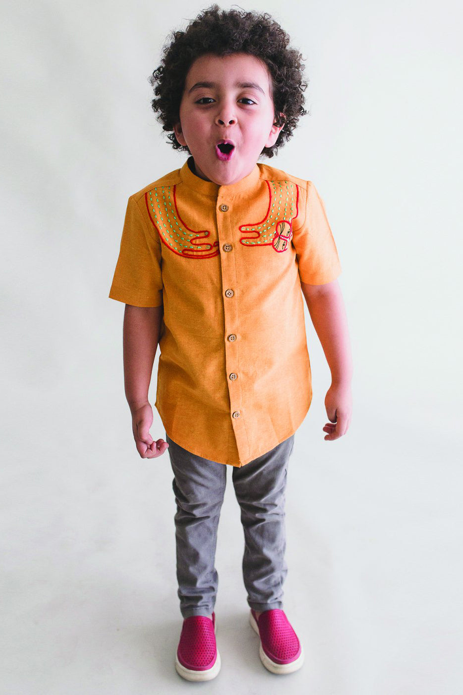 Boy Mustard Collar Cat Shirt