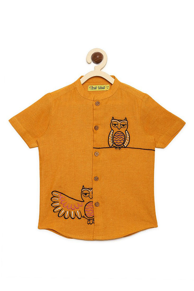 Boy Mustard Owl Shirt