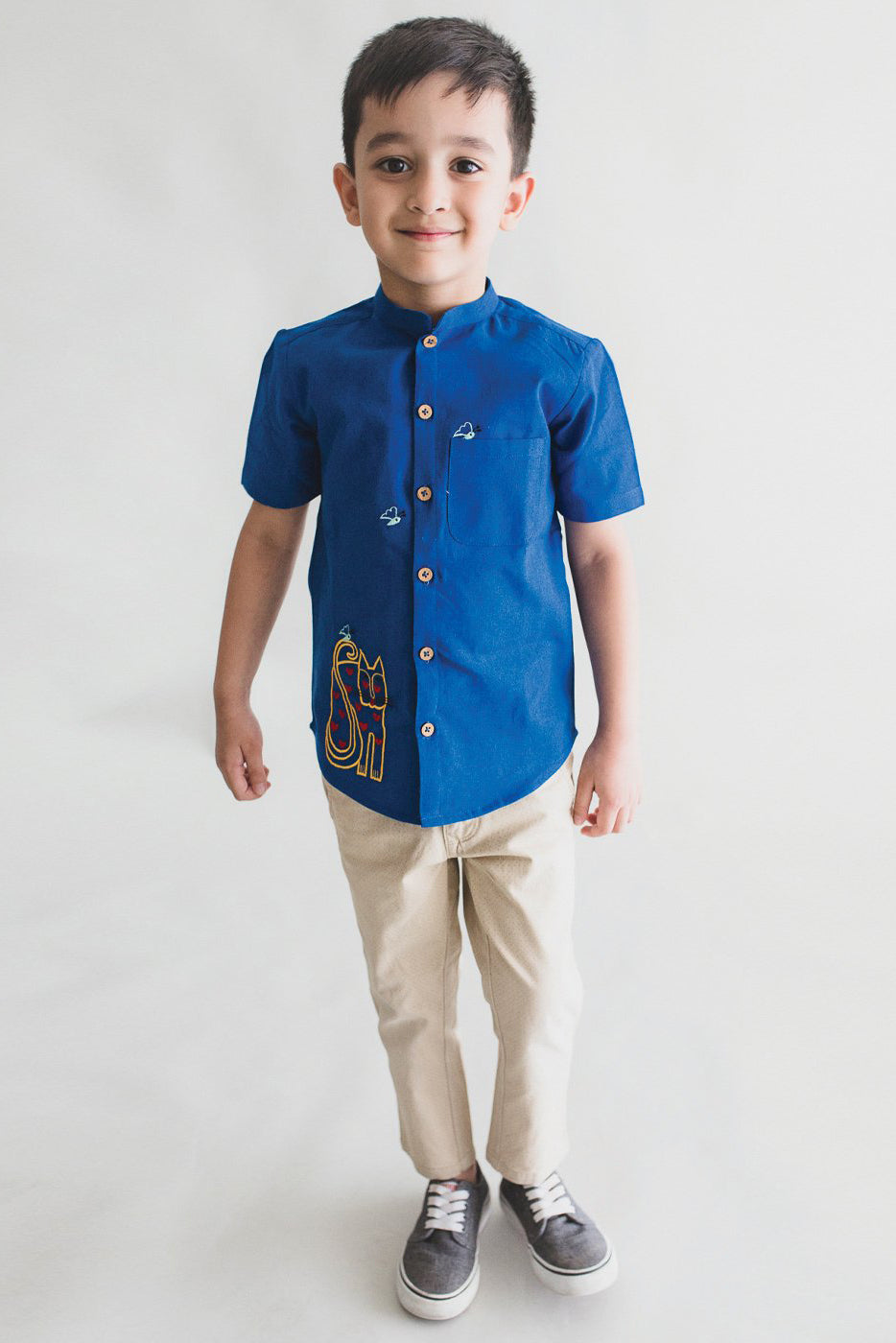 Boy Blue Butterfly Cat Shirt