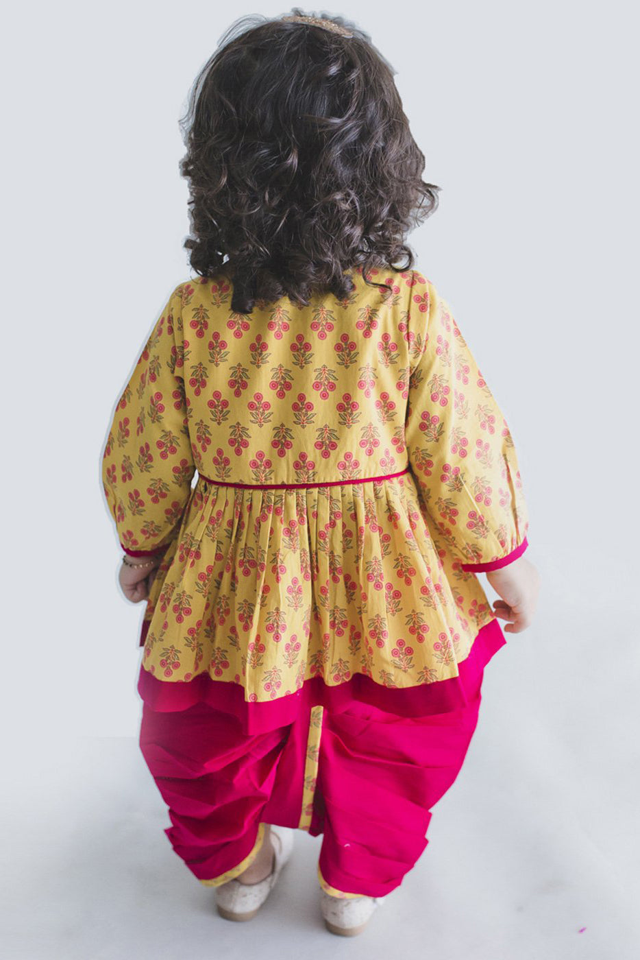 Girl Yellow Pink Buta Angrakha Dhoti Set