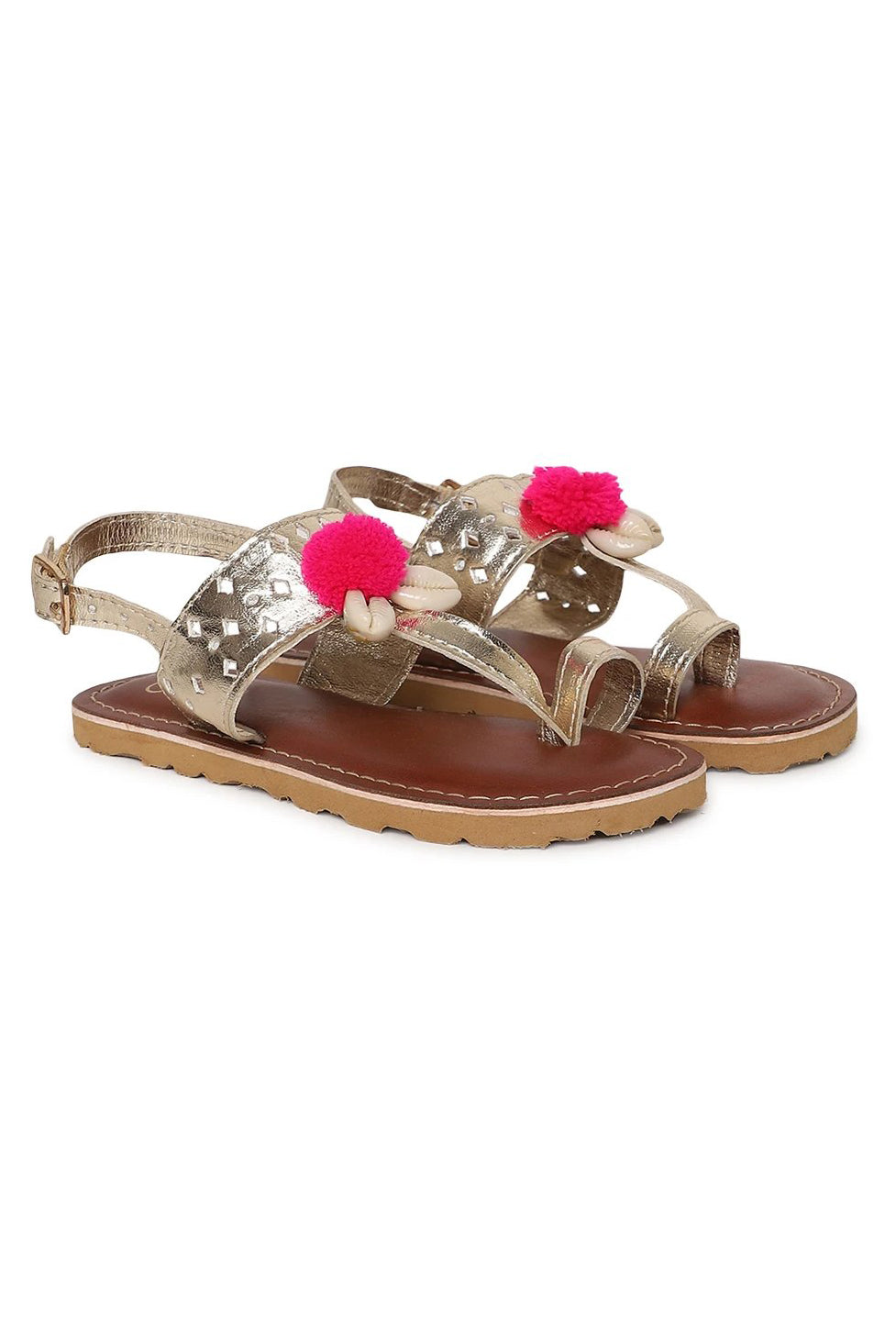 Girl Gold Cutwork Sandal