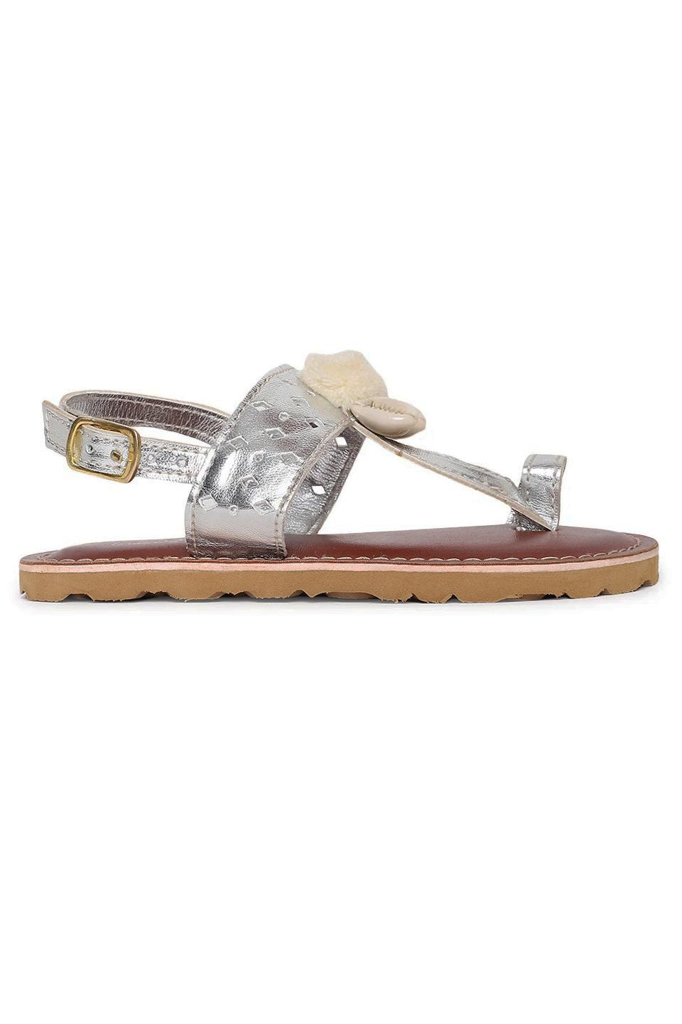 Girl Silver Cutwork Sandal