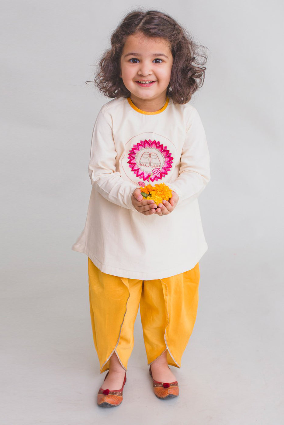 Girl White Krishna Lotus Feet Dhoti Set