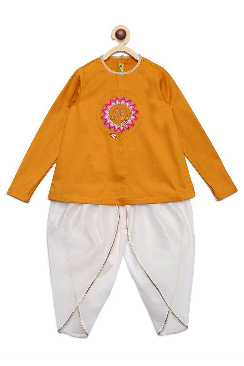 Girl Mustard Krishna Lotus Feet Dhoti Set