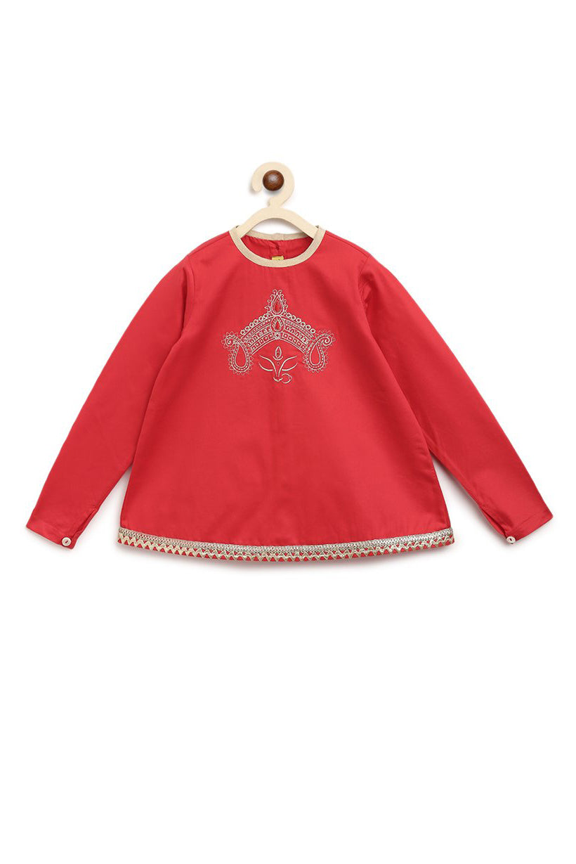 Girls Red Devi Crown Kurta Set
