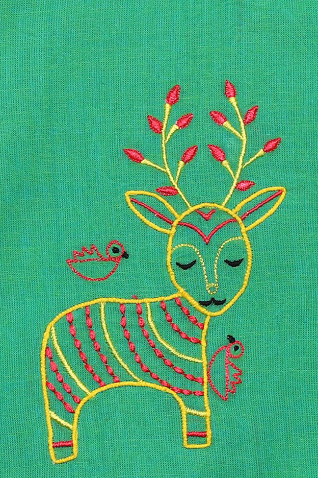 Girl Green Gond Deer Top Set