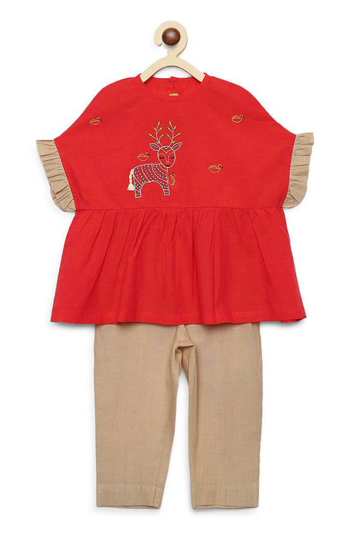 Girl Peach Gond Deer Top Set