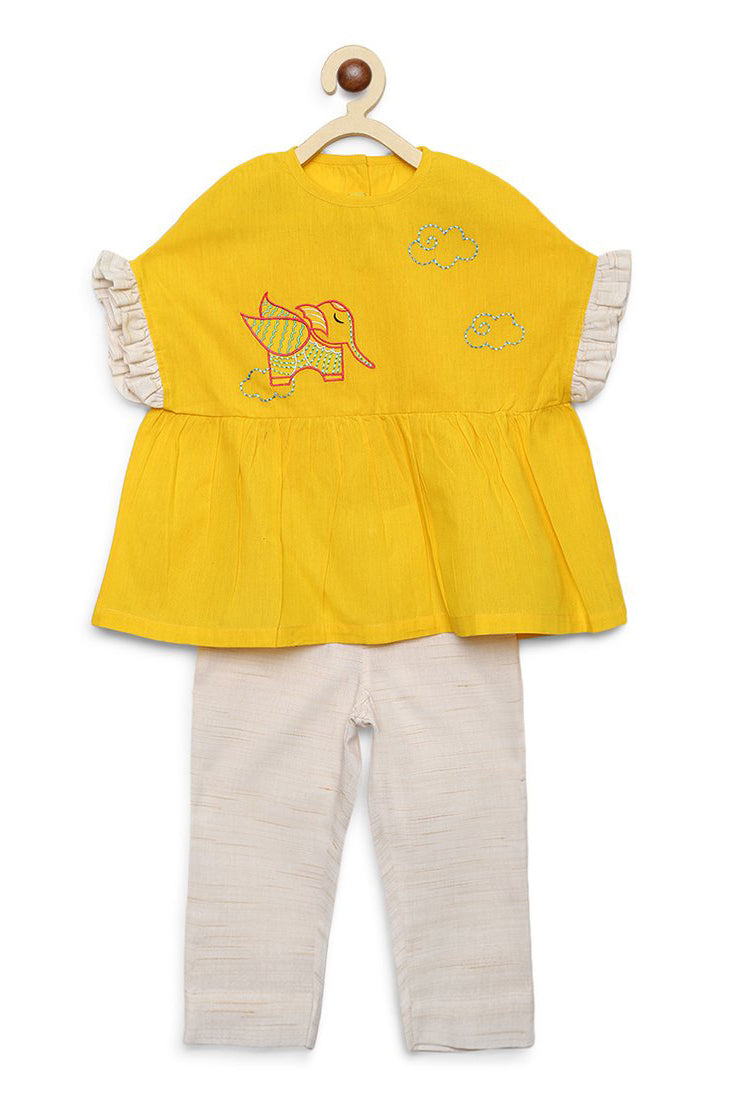 Girl Yellow Gond Elephant Top Set