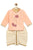 Baby Boy Peach Lotus Hand dhoti kurta set