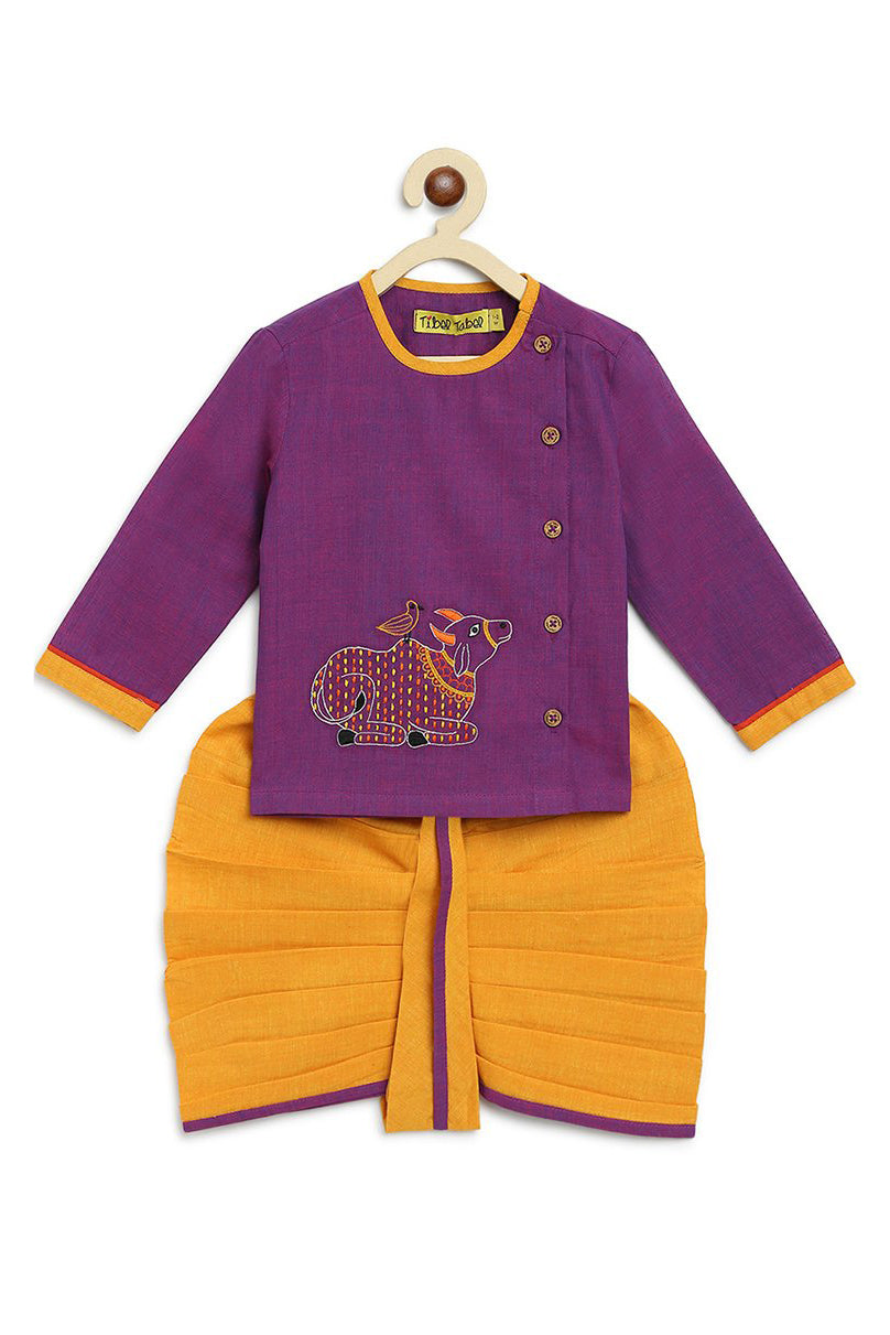 Baby Boy Purple Cow dhoti kurta set