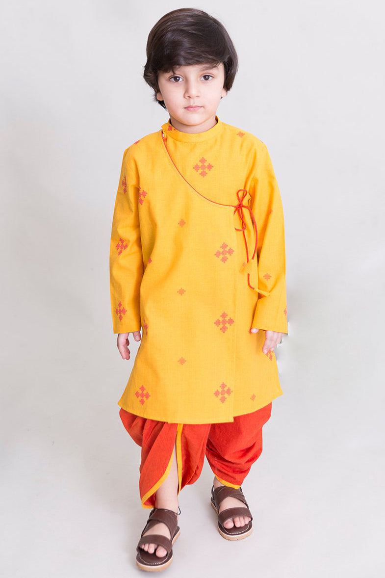 Boys yellow pixel dhoti kurta set