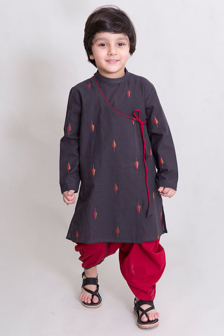 Boys Charcoal leaf Dhoti Kurta Set
