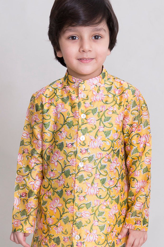 Boys yellow lotus print Dhoti Kurta Set