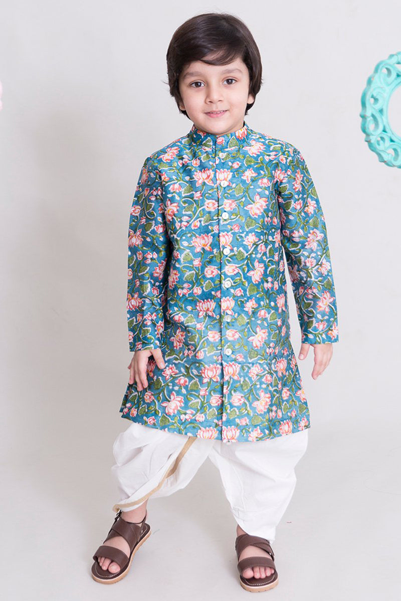 Boys Blue lotus print Dhoti Kurta Set