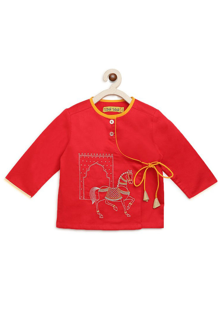 Baby Boy Red Embroidered Horse Dhoti Set