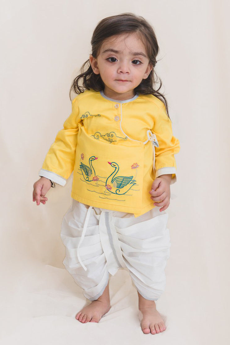 Baby Boy Yellow Embroidered Swan Dhoti Set