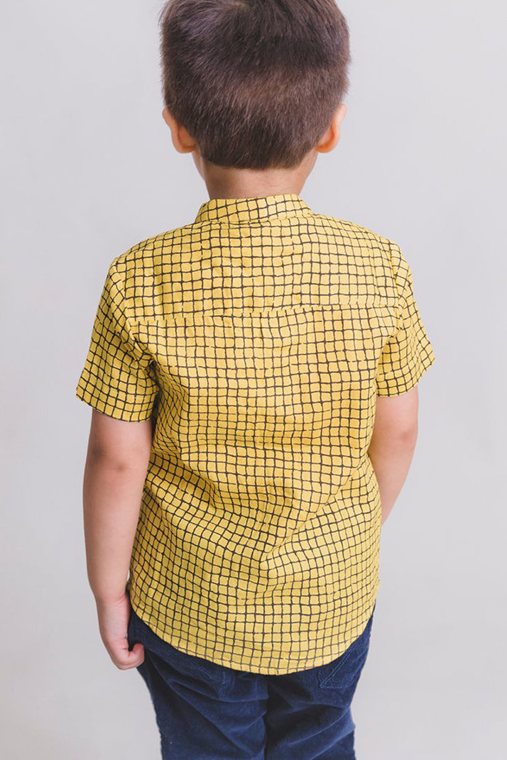 Boy Yellow Checks Shirt