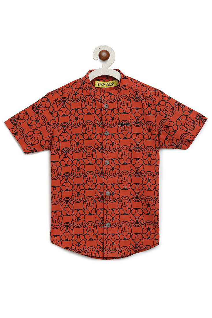 Boy Orange Monkey Shirt