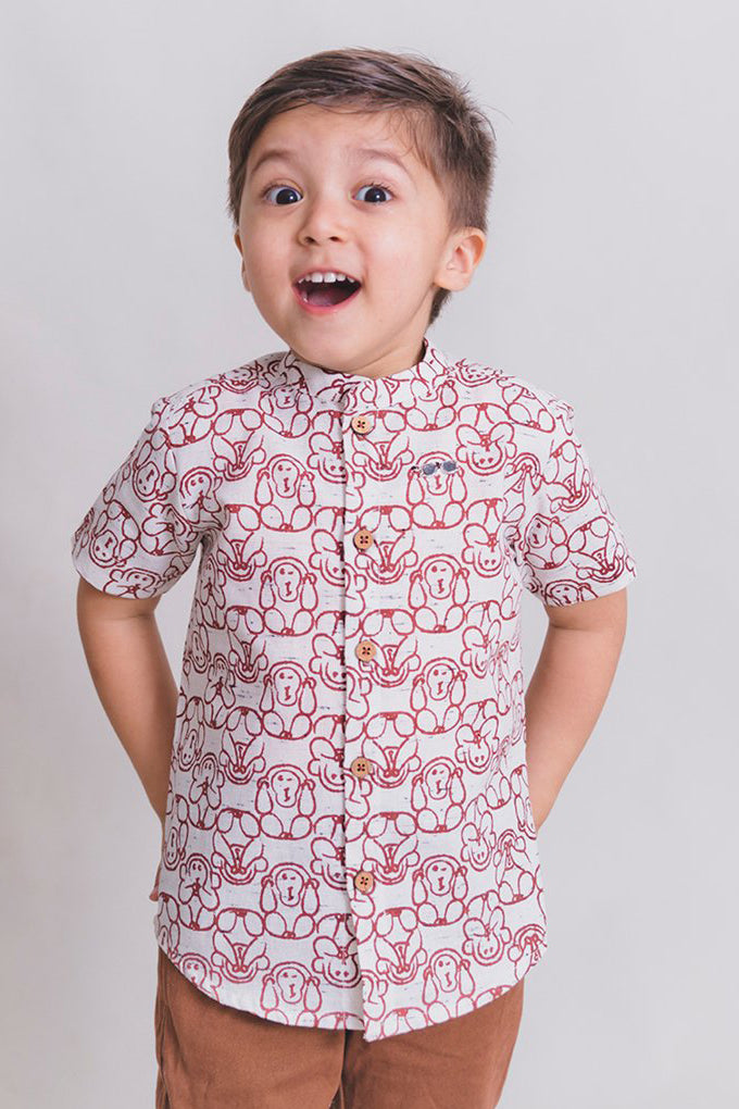Boy White Monkey Shirt