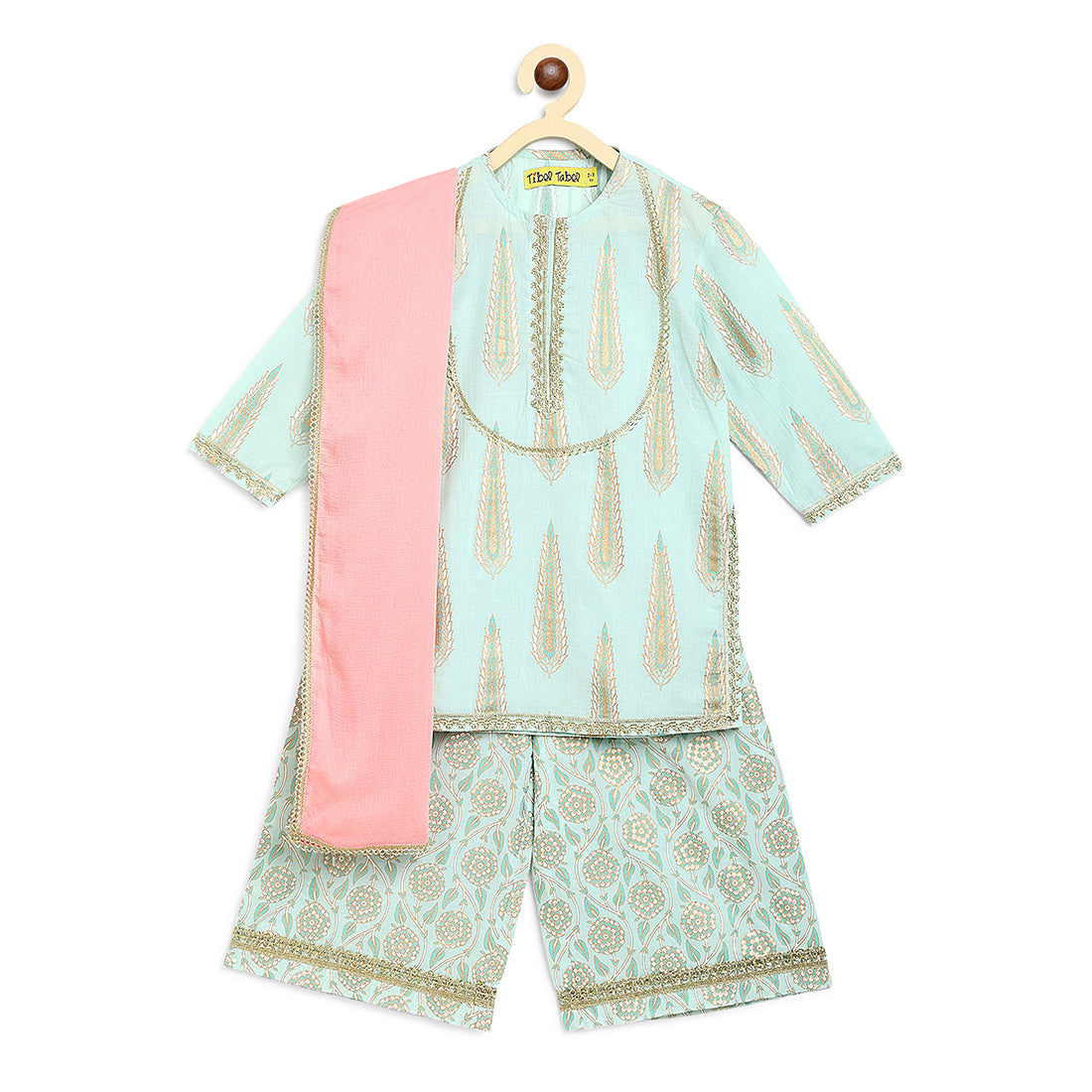 Girl Suit Set Sea Green Leaf