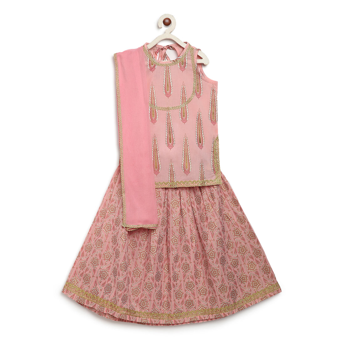 Girls Baby Pink Leaf Lehenga Set