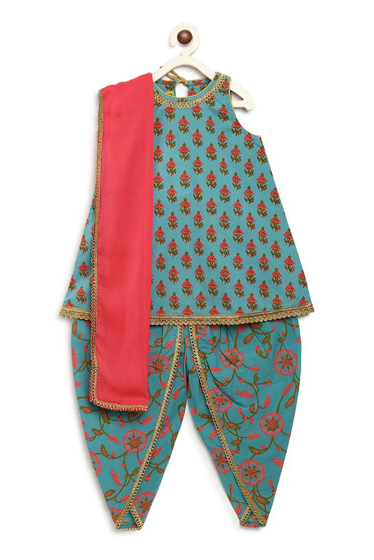 Girls Turquoise Blue Floral Suit Set