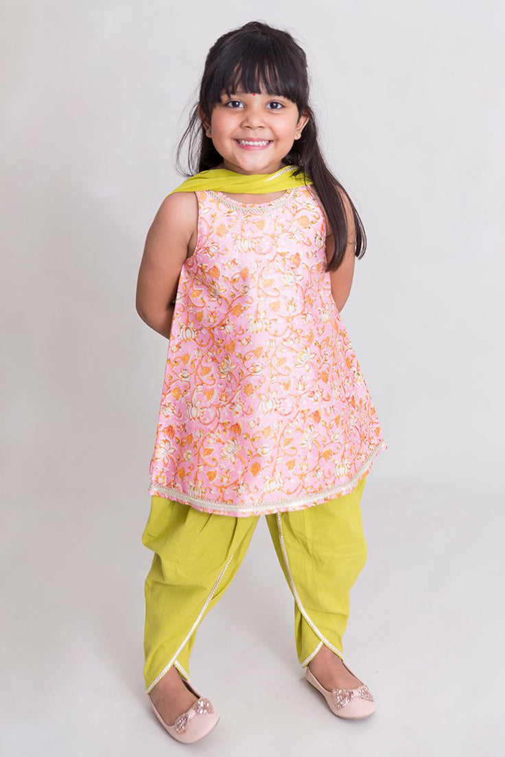 Girls Pink Lotus Print Suit Set