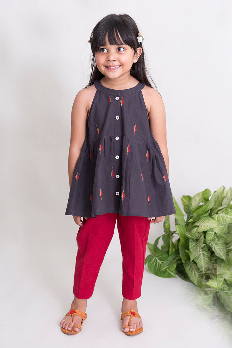 Girls Charcoal leaf Top Set