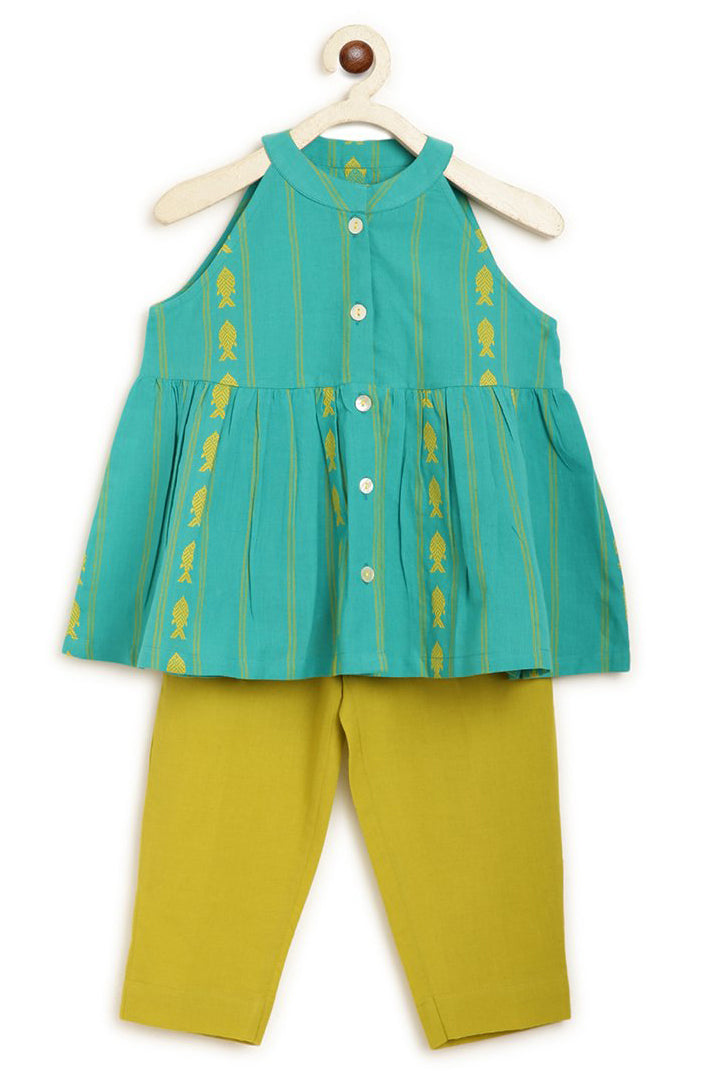 Girls Turquoise Fish Top Set