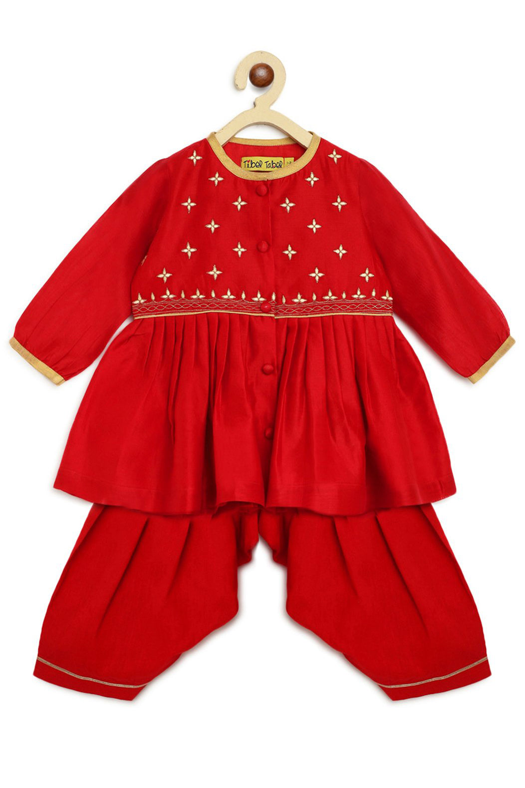Baby Girl Red Chanderi Buta Angrakha Set