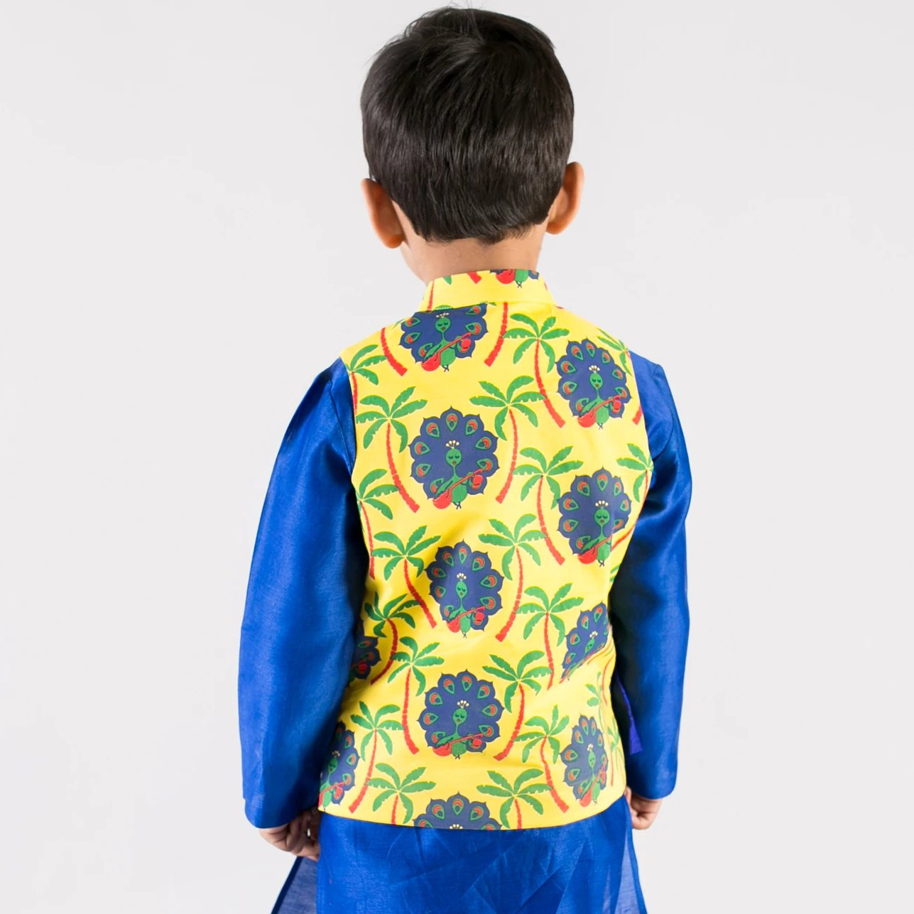 Boy Yellow Peacock Print Nehru Jacket