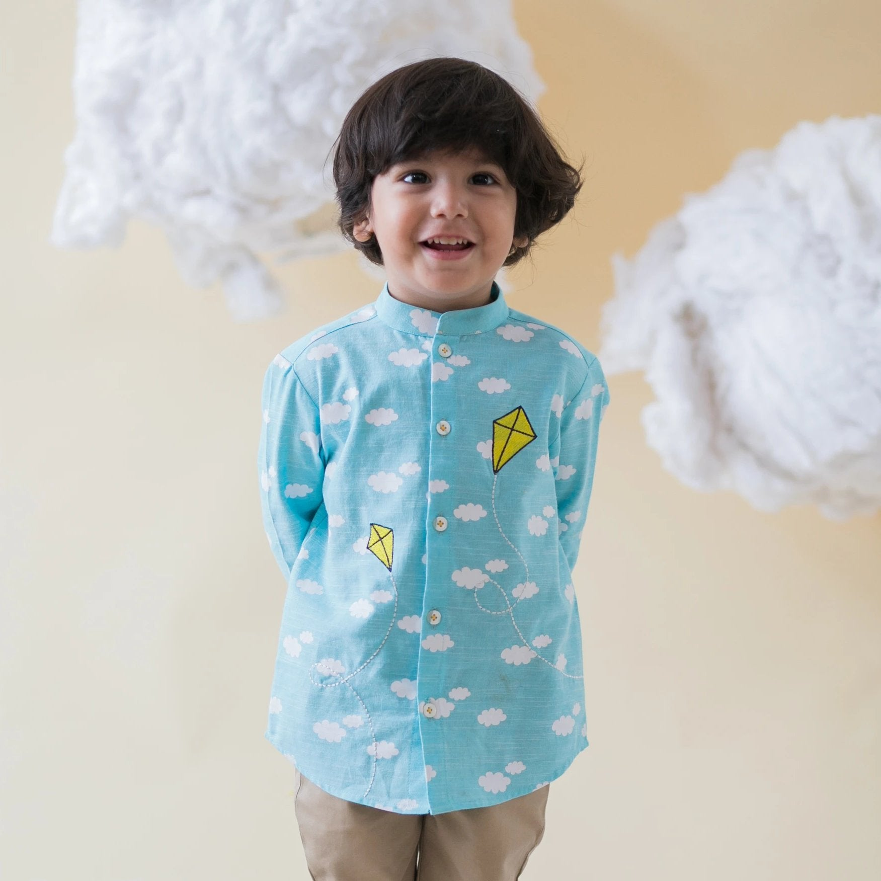 Boy Blue Cloud Print Shirt