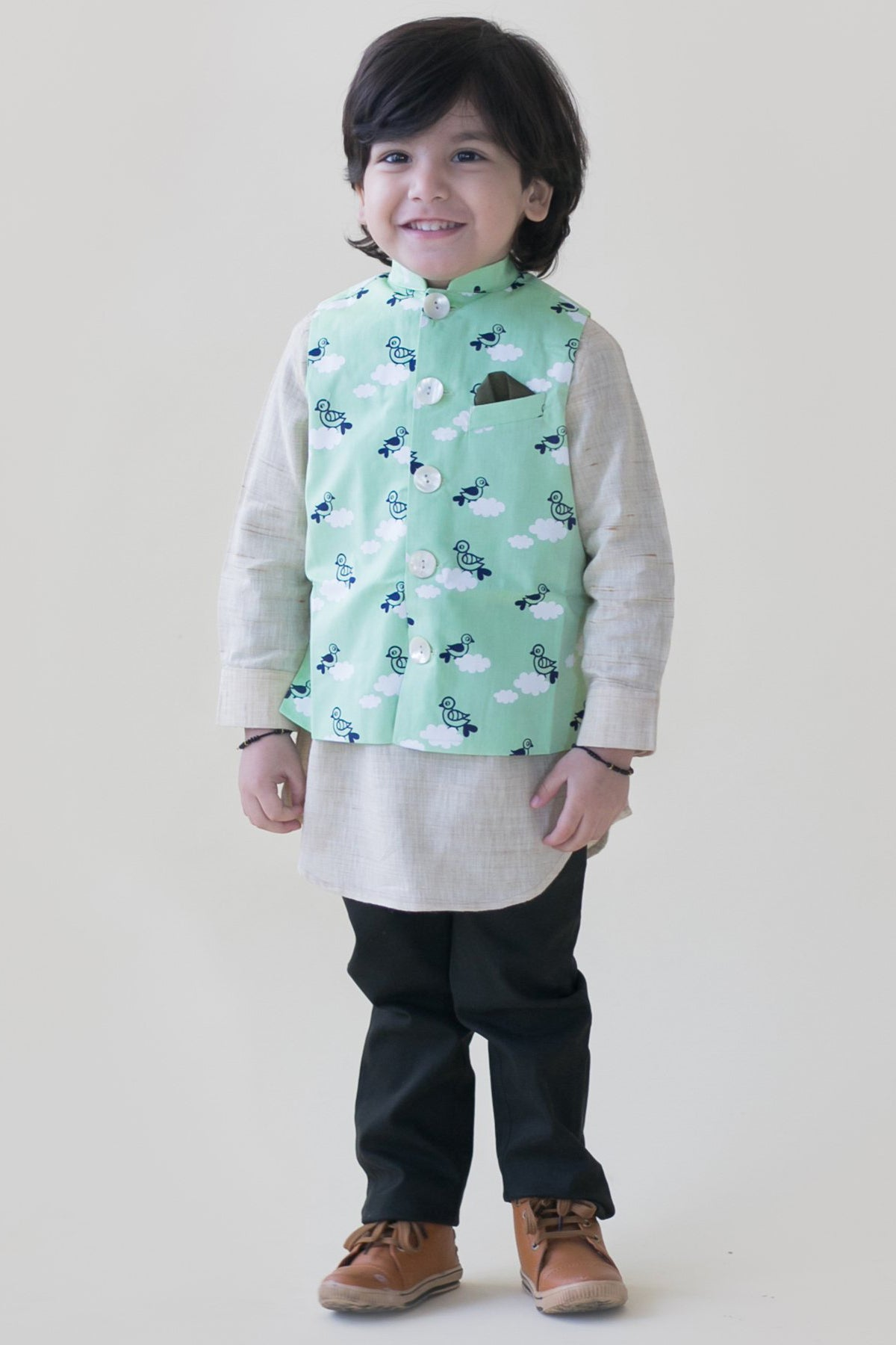 Boy Green Cloud Print Nehru Jacket
