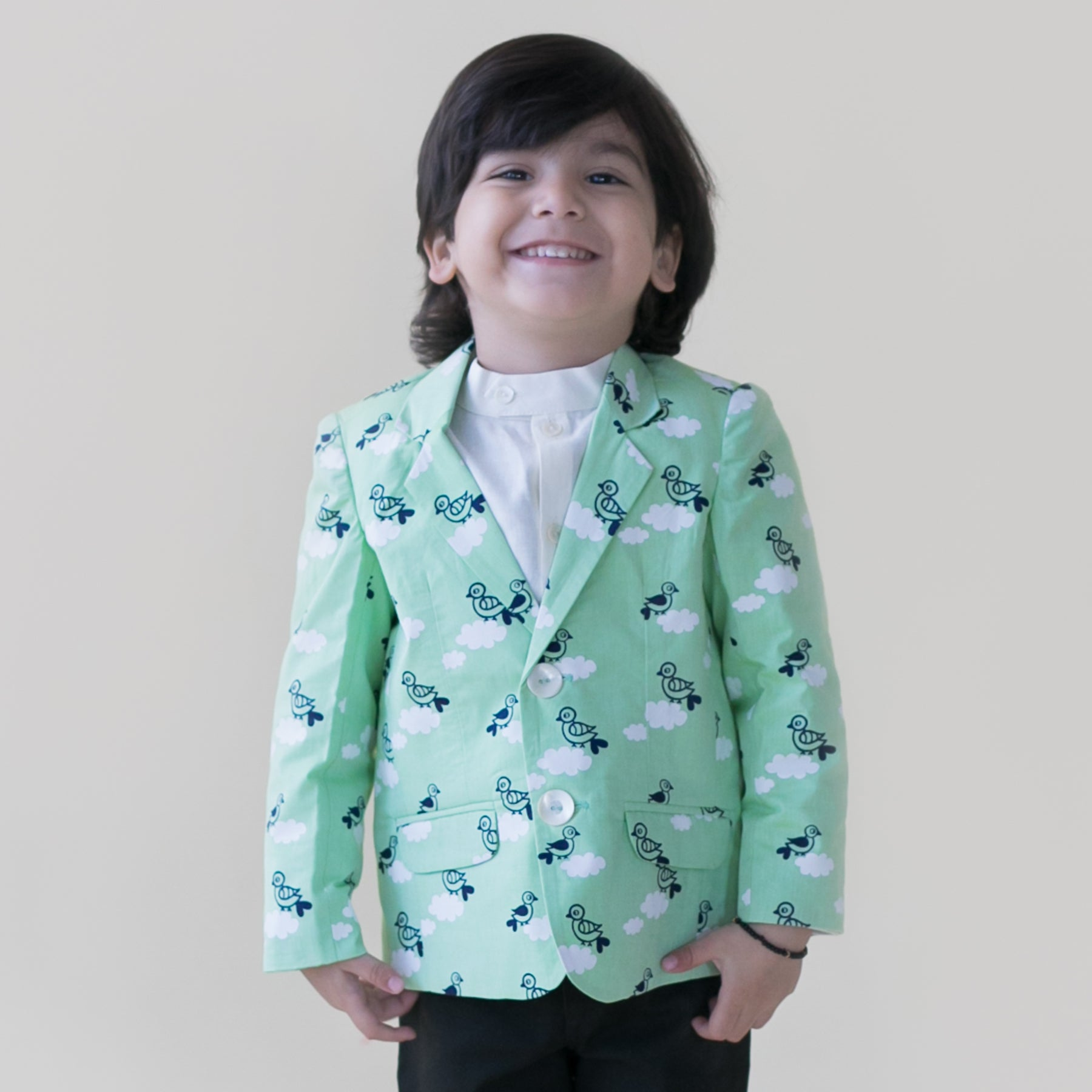 Boy Green Cloud Print Blazer