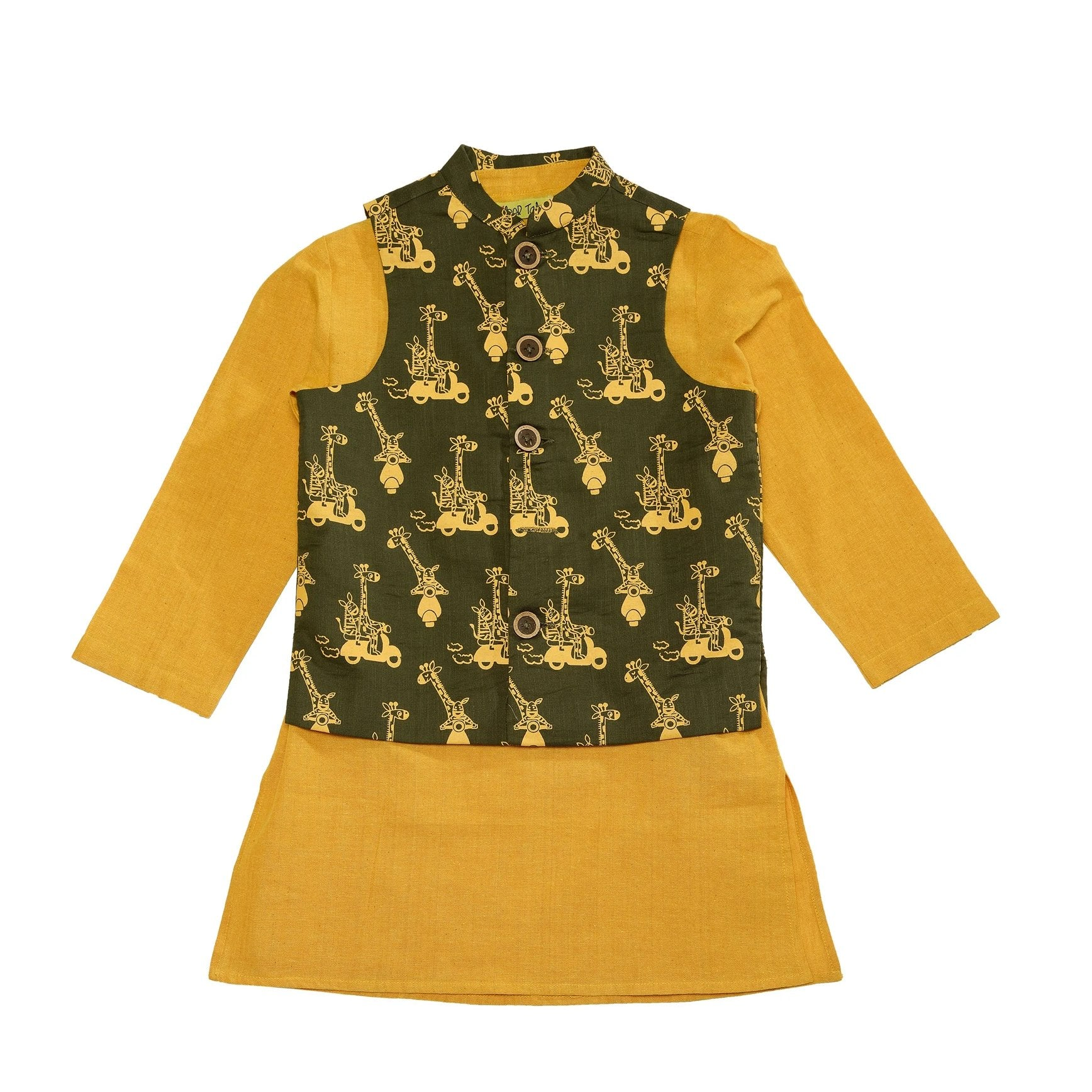Boy Jungle Print Olive 3 Pc Bundi Set