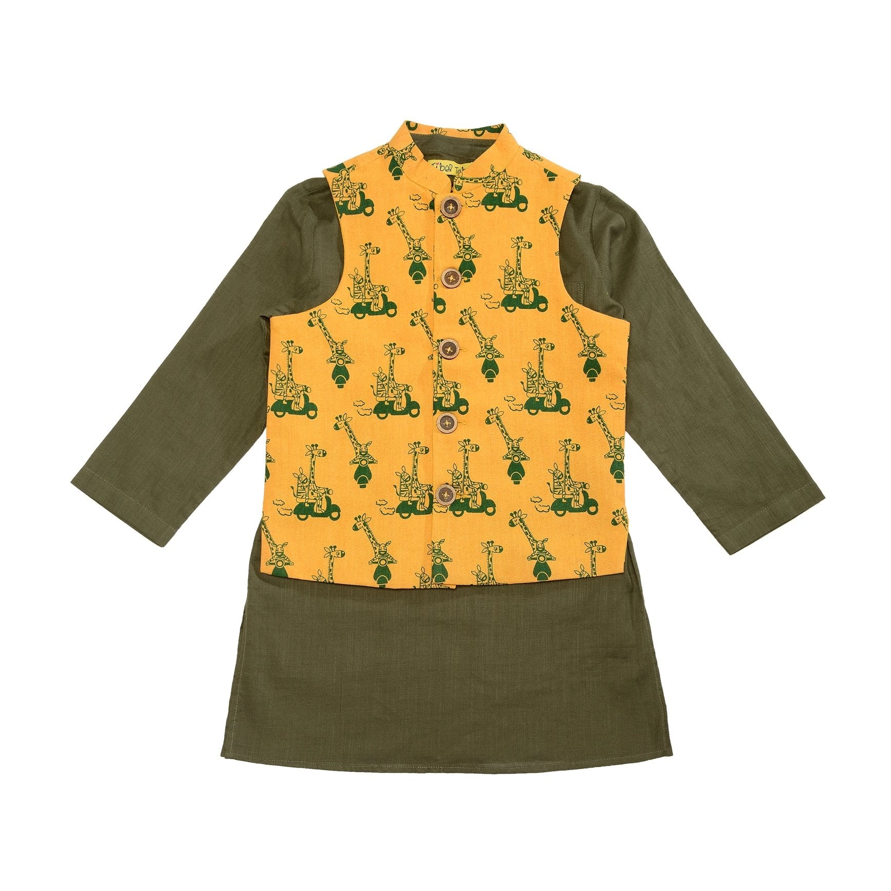 Boy Jungle Print Mustard Nehru Jacket