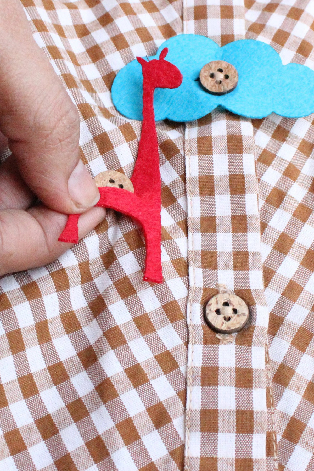 Boy Brown Checks Kurta With Felt Toys