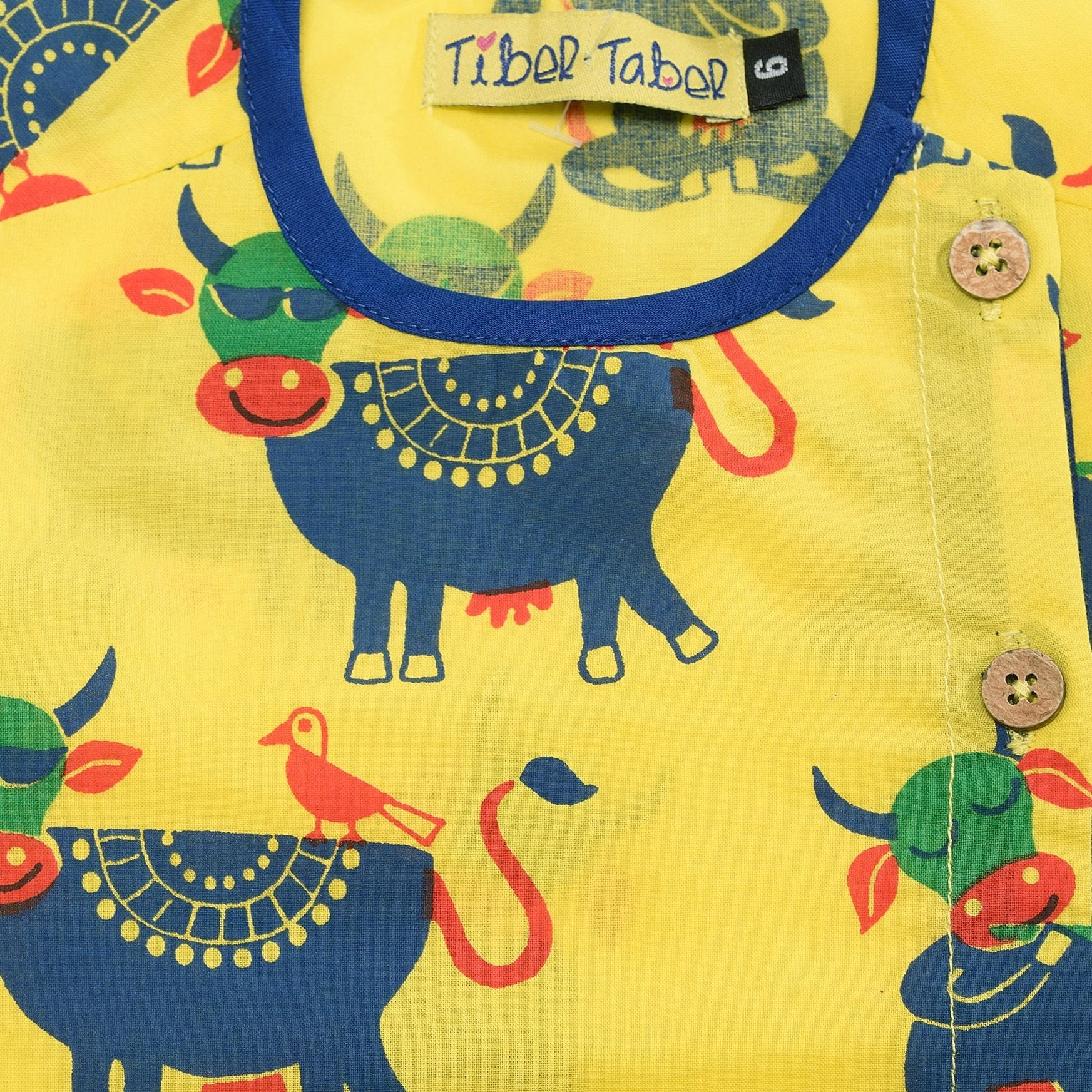Boy Yellow cow print dhoti set